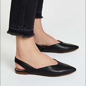Madewell Ava Black Pointed Slingback Flats Size 7